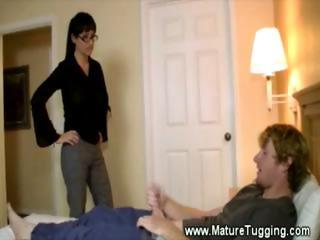 awesome rudd  woman tugs fresher boy