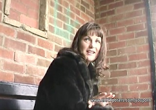 english d like to fuck persuaded to flash outdoors