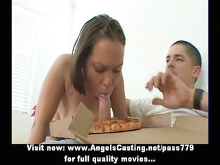 busty amateur albino does blowjob and titsjob for