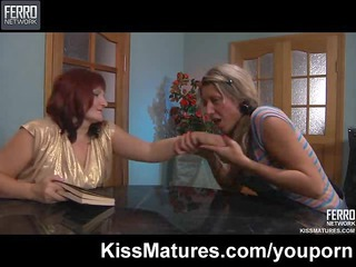 young lesbian babe seduces mature chick