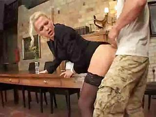 slim mature babe assfucked on desk