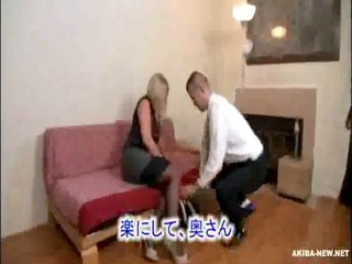 gorgeous older  blond housewife forced by