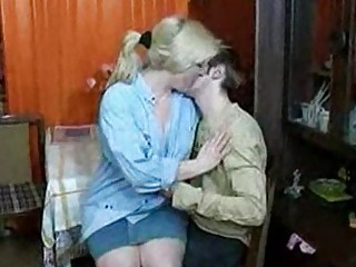 russian woman and guy having a drink