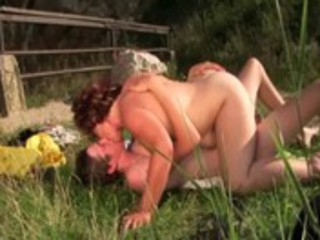grownup elderly pussy pounded outside by fluky man
