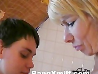 blonde woman with inexperienced boy
