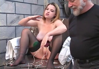 dd bondaged golden-haired in corset must mount