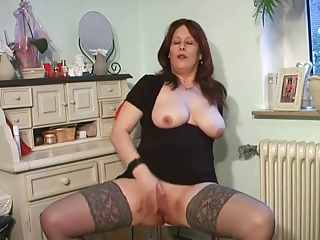 naughty lady enjoys into punch top nylons